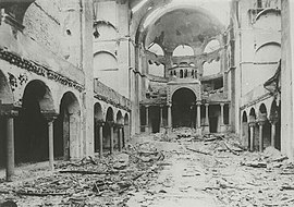 Photograph of the smashed interior of the Berlin synagogue