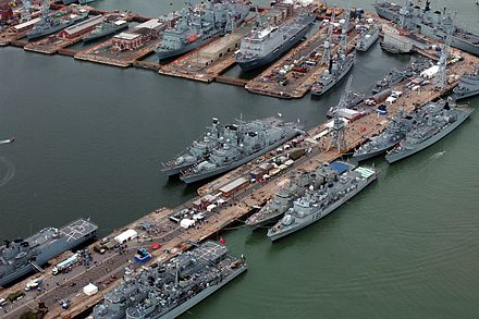 Portsmouth dockyard during the Trafalgar 200 International Fleet Review. Seen here are commissioned ships from; the United Kingdom, the Netherlands, Greece, Pakistan and Nigeria. International Fleet Review. MOD 45144668.jpg