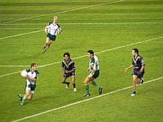 International rules football - An international rules football match at the Etihad Stadium in Melbourne, Victoria, Australia, between Australia and Ireland