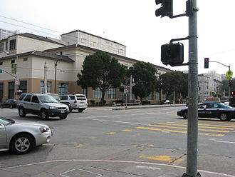 Van Ness Avenue - Intersection of Van Ness Avenue and Bay Street. Galileo Academy of Science and Technology is in the background.