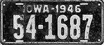Iowa 1946 license plate - Number 54-1687.jpg