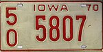 Iowa 1970 license plate - Number 50-5807.jpg