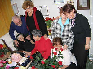 Irena Sendler - Sendler with some people she saved as children, Warsaw, 2005