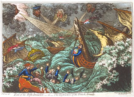 A British cartoon showed the failure of the French military expedition to Ireland dispersed by storms at sea in 1797 Irish-Invasion-Gillray.jpeg