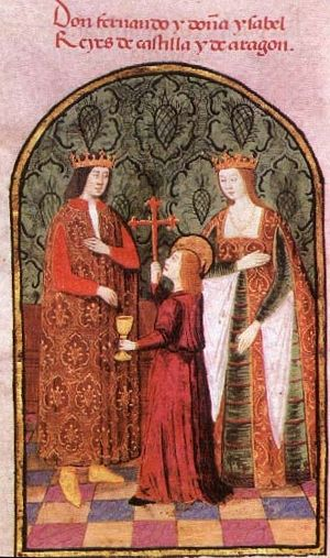 "Catholic Monarchs - Ferdinand on the left with Isabella on the right. The inscription above identifies them as ""Lord Ferdinand and Lady Isabella, Monarchs of Castile and of Aragon""."