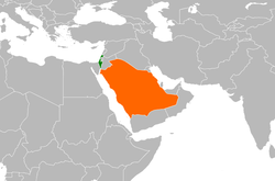 Map indicating locations of Israel and Saudi Arabia