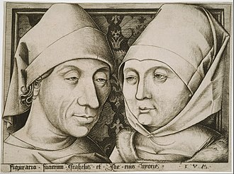 Israhel van Meckenem - Israhel van Meckenem and his wife, the first self-portrait in a print. Engraving, 1480s or 1490s.