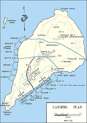 28th Marine Regiment (United States) - Landing plan for the assault on Iwo Jima. The 28th Marines would land at Green Beach on the far left flank of the eastern beach.