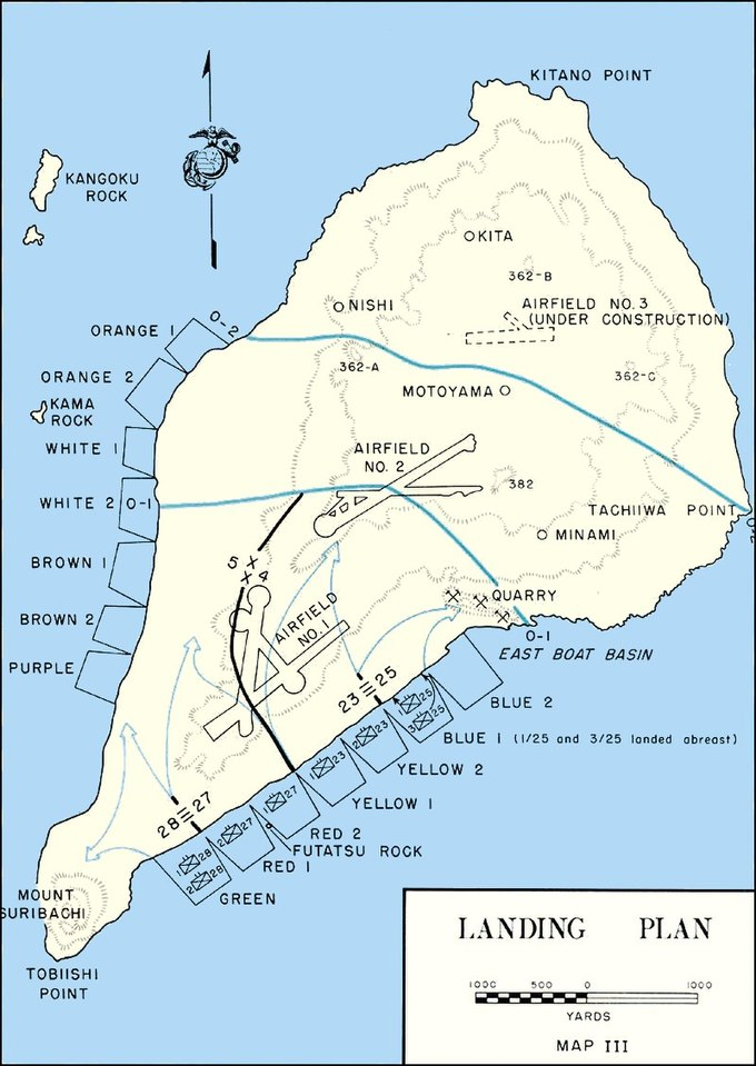 Map of Iwo Jima detailing the invasion Iwo Jima - Landing Plan.jpg