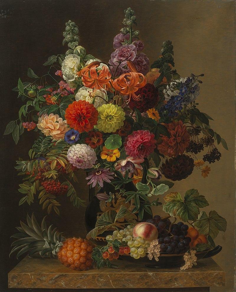 J.L. Jensen, Opstilling med blomster og frugt, 1836, Landesmuseum für Kunst und Kulturgeschichte Oldenburg.jpg