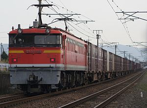 San'yō Main Line - Freight train with Class EF67 bank engine