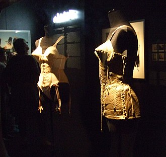Jean-Paul Gaultier - Madonna's trademark corset with cone bra from the exhibition at the ArtDes, 2013