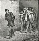 An 1888 Punch cartoon depicting Jack the Ripper as a phantom stalking Whitechapel