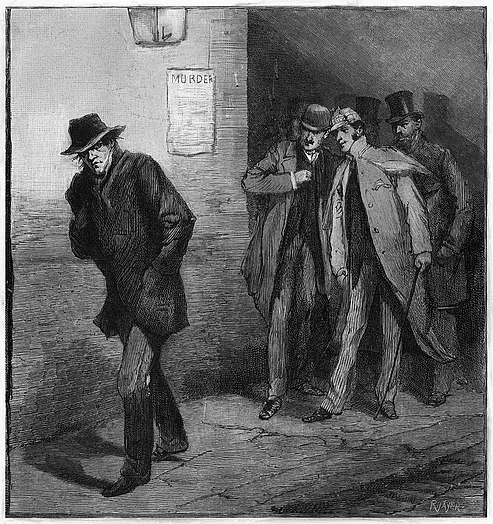 Drawing of a man with a pulled-up collar and pulled-down hat walking alone on a street watched by a group of well-dressed men behind him