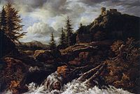 Jacob van Ruisdael - Waterfall in a Mountainous Landscape with a Ruined Castle.jpg