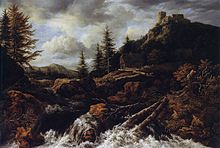 painting of waterfall with dead trees and a castle in the distance