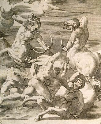 Jacopo Caraglio - Battle between Hercules and Centaurs, engraving from The Labours of Hercules after Rosso Fiorentino