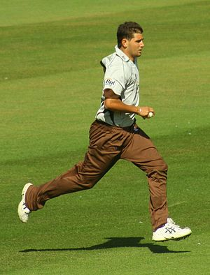 Surrey County Cricket Club - Current player Jade Dernbach runs up to bowl against Sussex at the County Ground in Hove in the 2008 Twenty20 Cup.