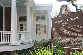 James W. Bolton - River Oaks, the restored James Wade Bolton House, is located at 1330 Main Street in downtown Alexandria, Louisiana.