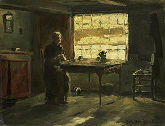 Jan Hendrik Weissenbruch - Farmhouse interior, oil on panel, between 1870 and 1903. Rijksmuseum, Amsterdam.