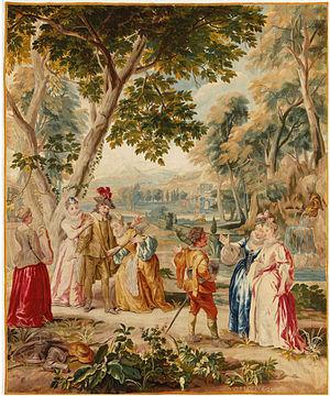 Jan van Orley - False Micomicon princess imploring Don Quixote, tapestry