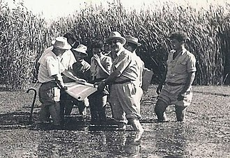 Marcel Janco - Janco and friends in the Hula Valley, 1938