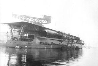 20 cm/50 3rd Year Type naval gun - Starboard quarter of Kaga with three casemate guns visible.