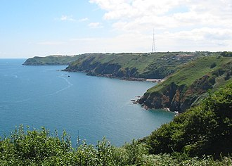 Fremont Point transmitting station - Image: Jersey North coast looking East from Ronez