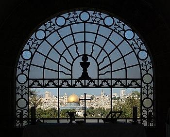 Jerusalem, Dominus flevit, view to the Mount Moriah