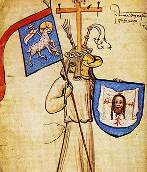 Hyghalmen Roll - Illustration of arms attributed to Jesus, with a schwenkel on a banner