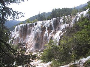 Pearl Waterfall is one of the many multi-level waterfalls in Jiuzhaigou.