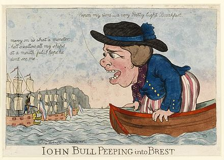 "John Bull peeping into Brest, The caption above the French fleet reads: ""Mercy on us what a Monster -- he'll swallow all my ships at a mouthful. I hope he don't see me."" John Bull peeping into Brest.jpg"