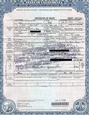 John Dall - Death certificate of John Dall.