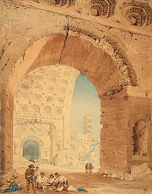 Basilica of Maxentius - Image: John Goldicutt View in Rome 1820