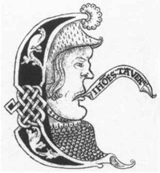 John Taverner - A possible likeness of John Taverner in an ornamental capital E from the Forrest-Heyther partbooks, c. 1520, shown with speech scroll inscribed in Latin: Joh(ann)es Tavern(er)