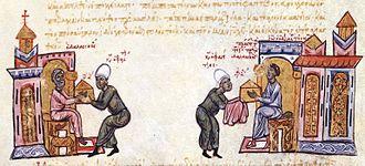 Constantine Dalassenos (duke of Antioch) - John the Orphanotrophos sends Phagitzes with relics to Constantine Dalassenos, miniature from the Madrid Skylitzes