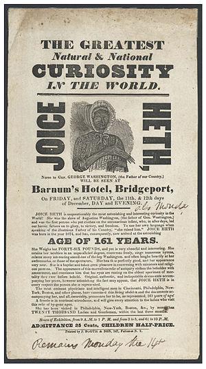 Joice Heth - Poster advertising Joice Heth