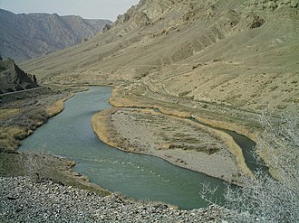 Aras (river) - The Aras river, Nakhchivan, Azerbaijan to the right and Iran to the left.
