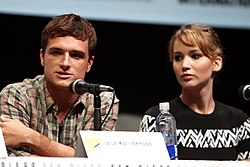 "Josh Hutcherson and Jennifer Lawrence speaking at the 2013 San Diego Comic Con International, for ""The Hunger Games: Catching Fire"", at the San Diego Convention Center in San Diego, California."