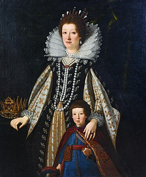 Justus Sustermans - Maria Maddalena of Austria, Wife of the Grand Duke Cosimo II de' Medici and Sister of the Emperor Ferdinand, with her son, the Future Ferdinand II, oil on canvas