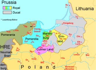 Lauenburg and Bütow Land - The Pomerelian districts of Lauenburg and Bütow, identified by Lb. and Bt, enfeoffed to the Dukes of Pomerania (as of 1526)