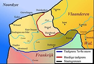French Flemish - Historic regression of Dutch in the Western periphery. The blue line indicates the situation in the 7th–8th century; the red line marks the situation during the 20th century; the black line is the current French-Belgian border.