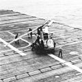 Kaman HUK-1 of HU-2 on USS Valley Forge (CVS-45) in 1960.jpg