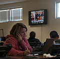 Karen Allen, with the American Red Cross, takes a call at a Putnam County emergency operations center in Winfield, W.Va., during Gov. Earl Ray Tomblin's press conference Jan. 12, 2014 140112-Z-LQ742-006.jpg
