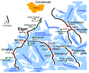 Fiescher Glacier - This map shows the Fieschergletscher at the lower right with the Finsteraarhornhütte just above, and the Grindelwald-Fieschergletscher in the middle.