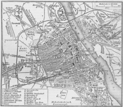 Map of Warsaw from the 1888 edition of the Meyers Konversations-Lexikon