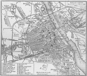German 1888 map of Warsaw