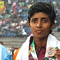 Kawshalya of Sri Lanka won Bronze Medal in Women's 400 Hurdles event in Athletics, at 12th South Asian Games-2016, in Guwahati (cropped).jpg