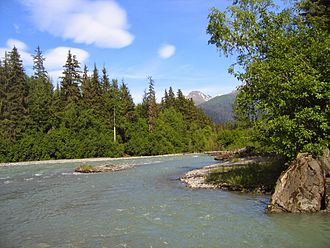 Kelsall River - The Kelsall River near its confluence with the Chilkat in Southeast Alaska