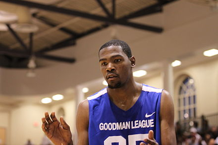7f1296fa4 Durant playing in a game between the Drew League and the Goodman League in  August 2011